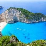 """Navagio Beach or Shipwreck Beach, is an exposed cove, sometimes referred to as """"Smugglers Cove"""", on the coast of Zakynthos (Zante), in the Ionian Islands of Greece."""