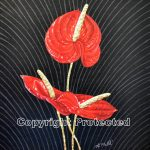 MOLTEN GOLD ANTHURIUM ACRYLIC ON CANVAS 12 X 15