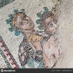 Closeup view of figures in the floor of the old roman Villa del Casale of the 4th century A.C. Unesco world heritage, Piazza Armerina, Sicily